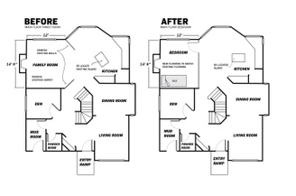 A before and after floorplan of a main floor of a home, in which a family room was closed off to create a main floor bedroom.