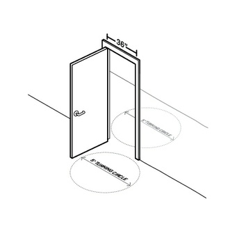 A diagram of a door shows a 5' turning circle on both sides of the door.