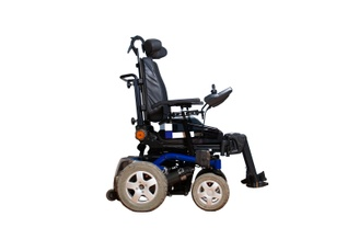 A photograph of a power wheelchair